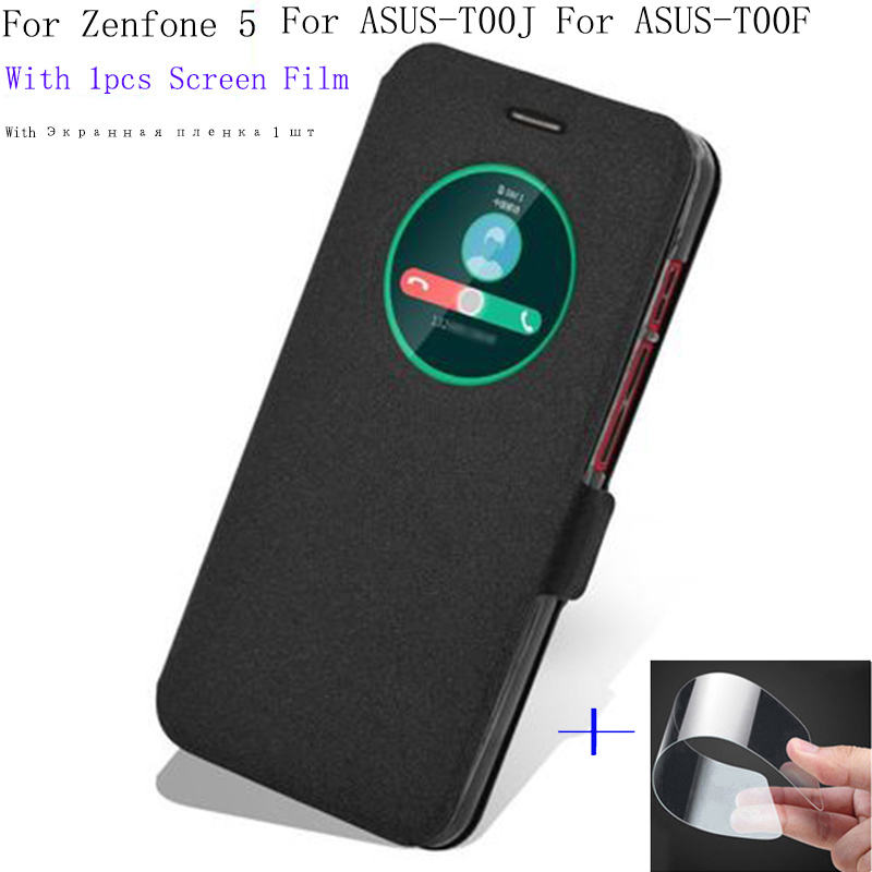5.0inch Smart View Window Shell For ASUS Zenfone 5 for ASUS-T00F Case Cover flip PU Leather for ASUS-T00J phone cases back cover