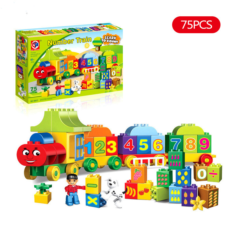 75 adet Duplos numarası tren yapı taşları eğitim Duplo tren numarası tuğla oyuncaklar çocuklar için orijinal kutusu