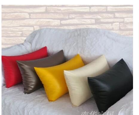 Pillow Covers For Living Room Traditional Furniture Ideas Eco Friendly Yellow Beige Red Brown Lumbar Pu Leather Cover