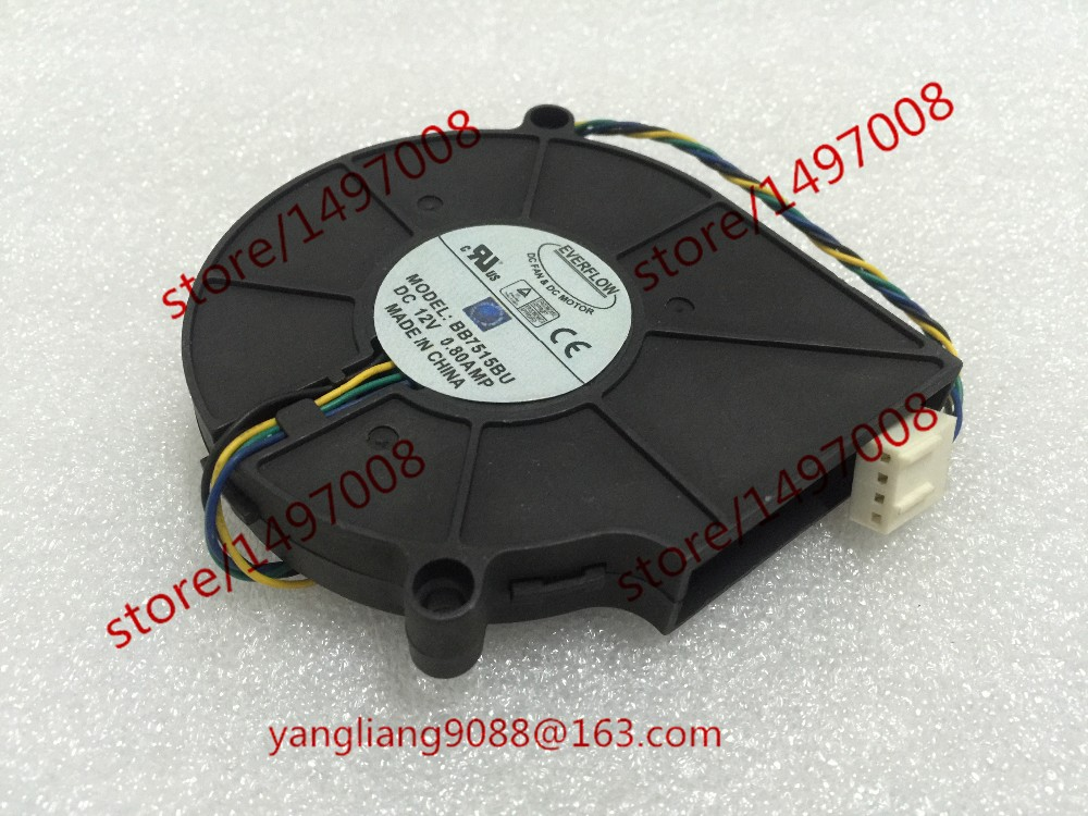 Free Shipping For EVERFLOW BB7515BU DC 12V 0.80A 4-wire 4-Pin connector 70mm Server Blower Cooling fan потребительские товары kathy 16 400