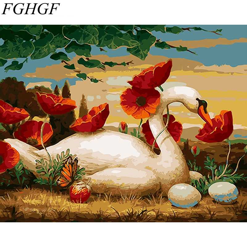 FGHGF Hot Selling Abstract Swan Frameless Pictures Painting By Numbers Home Decoration DIY Canvas Oil Painting Handwork