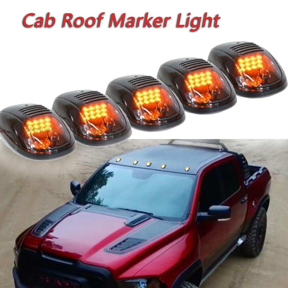 5 pcs set 12led fumado taxi telhado luz marcador folga quente ambar luz para dodge ram