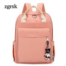 Women Backpack School Hot Solid Nylon Lock Zipper Pink Fashion Bags For Teenagers Back Pack Rucksack