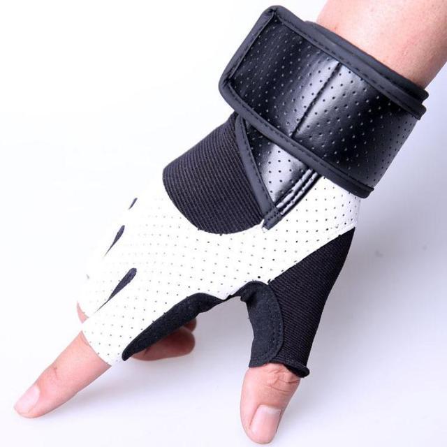 Pu costura de cuero guantes gimnasio Guantes Cuerpo Building ...