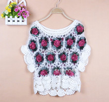 Hot Sale New Arrival Fashion Handmade Rose Hollow Out Pullover Short Sleeve Women Sweater Black Beige 8586#