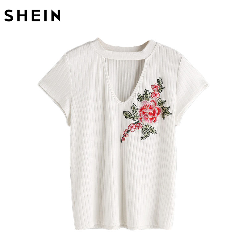 SHEIN <font><b>T</b></font> <font><b>shirts</b></font> Women 2017 Summer <font><b>Rib</b></font> <font><b>Knit</b></font> Flower Applique Choker Neck Tee White Cut Out Front Short Sleeve <font><b>T</b></font>-<font><b>Shirt</b></font>