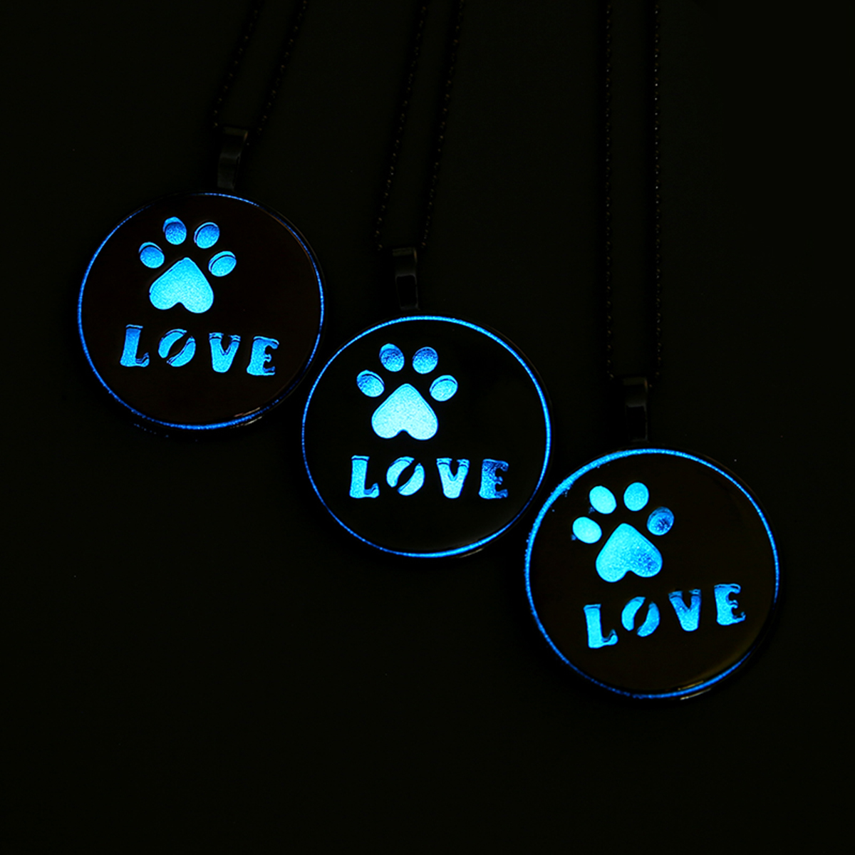 Steampunk Glow In the Dark Necklace Silver Color Luminous Stone Locket Cat Dog Paw Pets Pendant Choker Pendant Necklace Jewelry locket
