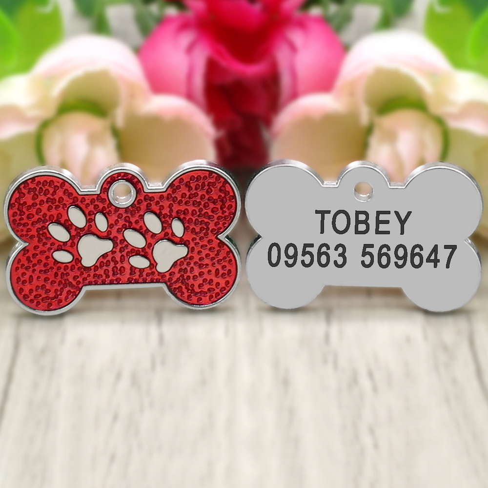 Personalized Dog Tags Engraved Cat Puppy Pet ID Name Collar Tag Pendant Pet Accessories Bone/Paw Glitter 29