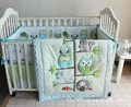 Promotion! 7PCS Woodpecker embroidery Baby Boy Crib Cot Bedding Set bed linen (bumper+duvet+bed cover+bed skirt)