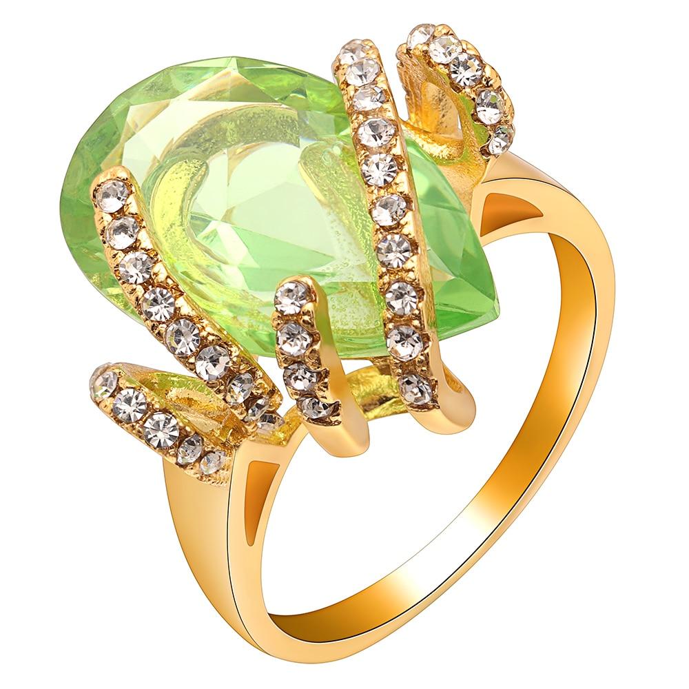 light Green Big Zircon Stone Luxury Gold Rings Jewellery For Women Engagement Wedding Beautiful Gift Jewelry