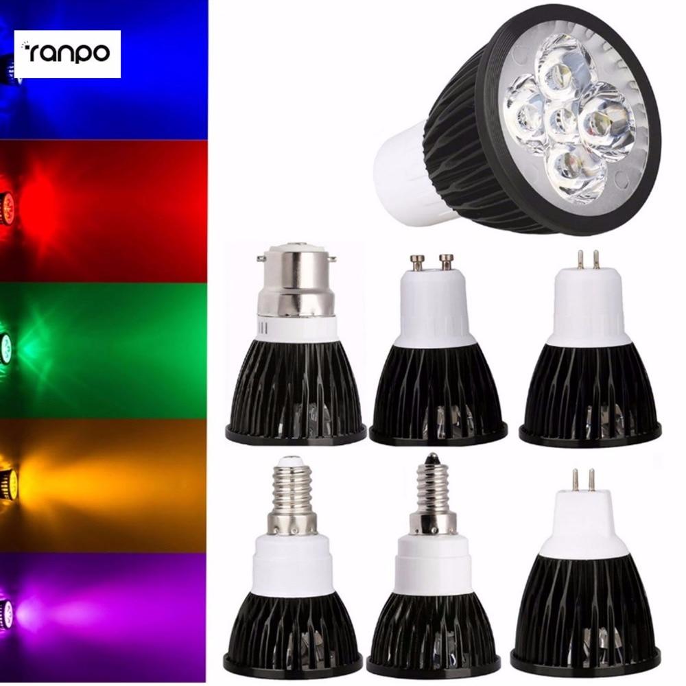 LED Spotlight Bulb 9W 12W 15W B15 B22 E12 E14 E27 GU10 MR16 Dimmable Epistar Lampada AC110V 220V DC 12V 8 Colorful Super Bright