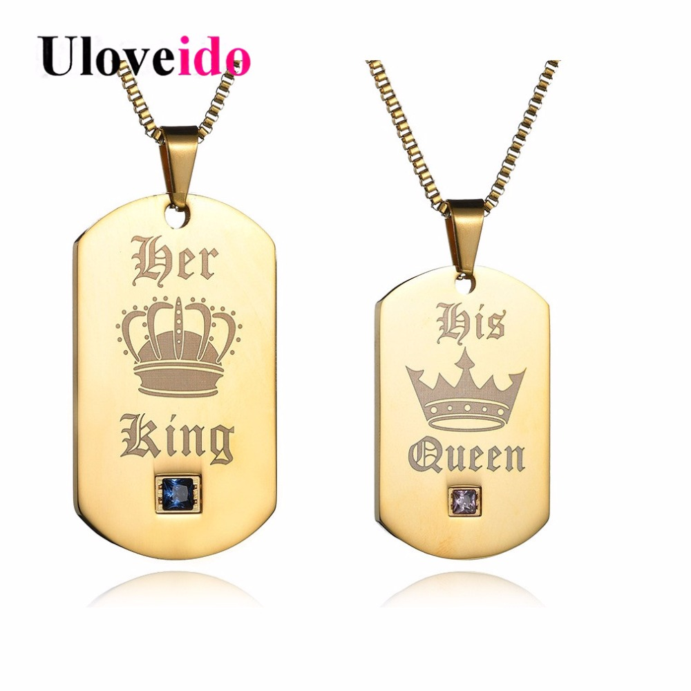 Uloveido Her King and His Queen Necklaces & Pendants Titanium Couple Gold Color Necklace Stainless Steel Suspension Gifts SN118