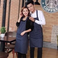 2018 1Pcs Denim Cowboy Apron for Women Men with Pockets Barber Adult Bibs Home Cooking Baking Coffee Shop Aprons Kitchen Chef