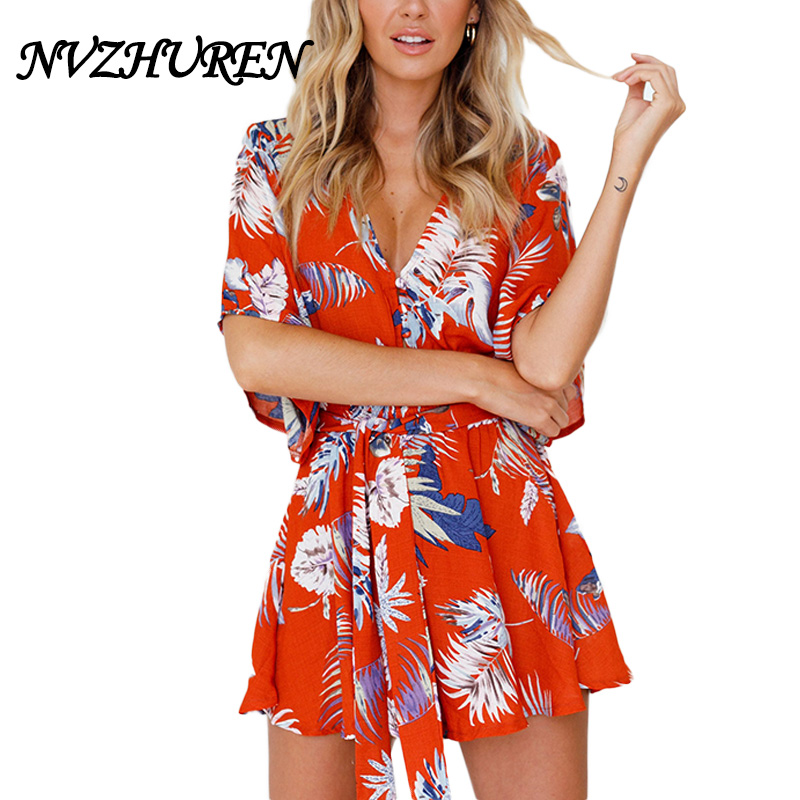 NVZHUREN Leaves Print Orange Playsuits For Women V Neck Sexy Rompers Womens Jumpsuit New Design Summer Beach Vacation Playsuit ...