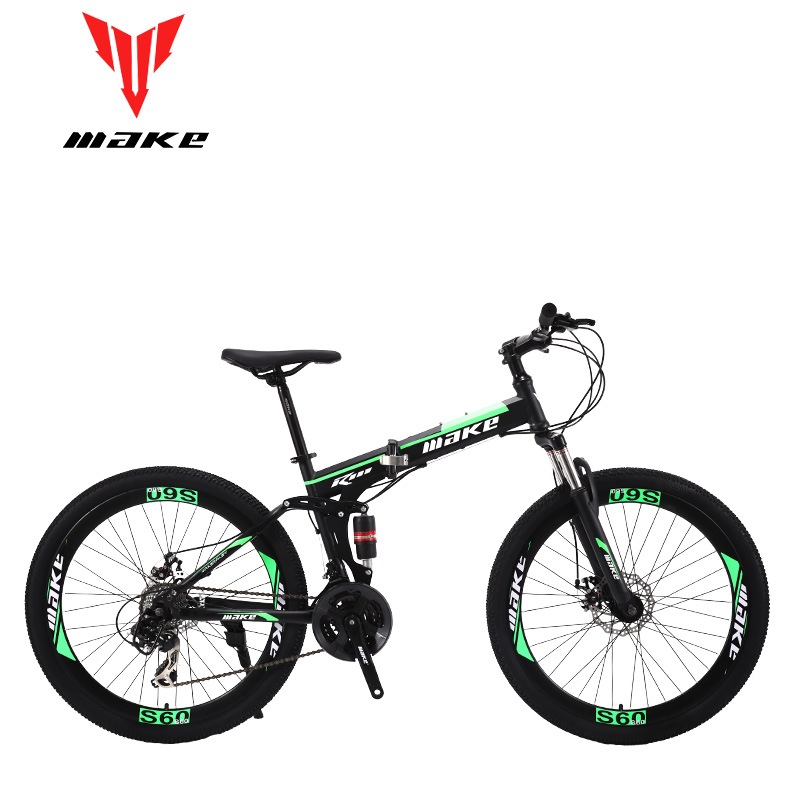 Make Steel Folding Frame, Mountain Bike 26 Wheel, 24 Speed SHIMANO MTB