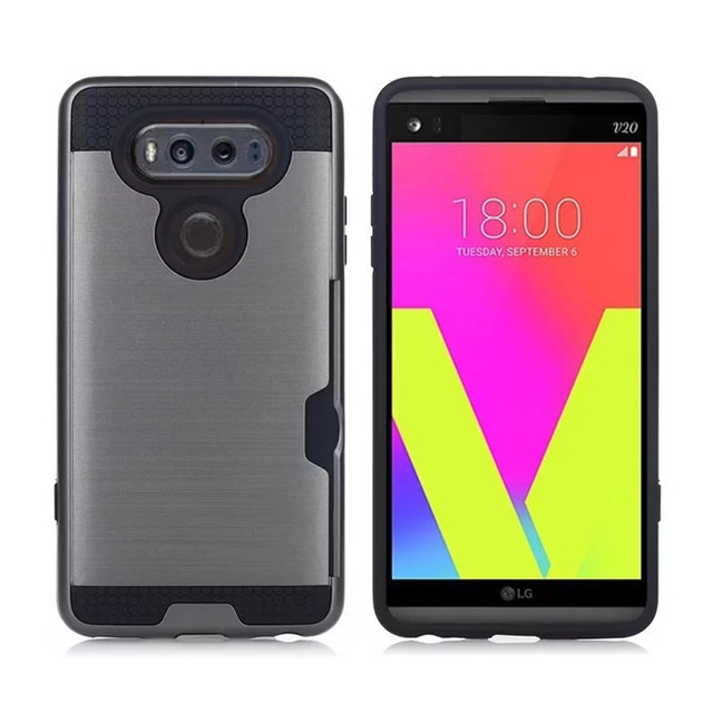cheaper 0d817 fb513 US $2.9 22% OFF|For LG V30 case Hybrid PC & TPU Rugged Armor Brushed Coque  for LG V30 Silicone Protector Case Cover With Card Slot Phone Case-in ...