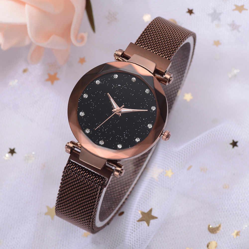 Lvpai חדש אופנה כוכבים שמיים מגנטי עלה זהב רשת יהלומים שעונים נשים גבירותיי בנות קוורץ שעוני יד reloj mujer