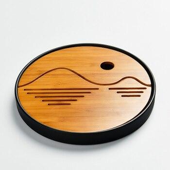 Kaffee Tee Werkzeuge, 20X20X2,5 Cm Große Natürliche Bambus Tee Tablett Platz Bambus Puer Runde Tee Bord Tisch Bambus Geschenk