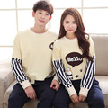GOPLUS Autumn Korea Couple Pajamas Cotton Pyjamas For Women Men Pyjama Homme Lounge Sleepwear Nightwear Sets T-shirt & Boy Pants