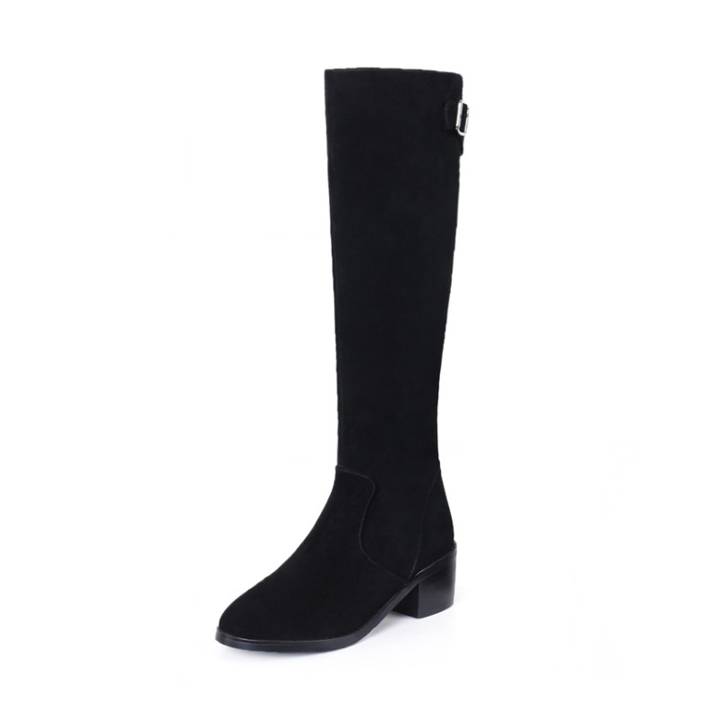 Genuine Leather shoes women boots fashion buckle boots cow suede leather shoes knee-high winter boots square heel long boots classicone woman shoes winter boots genuine leather suede knee high boots flats fur snow boots shoes women s brand fashion style