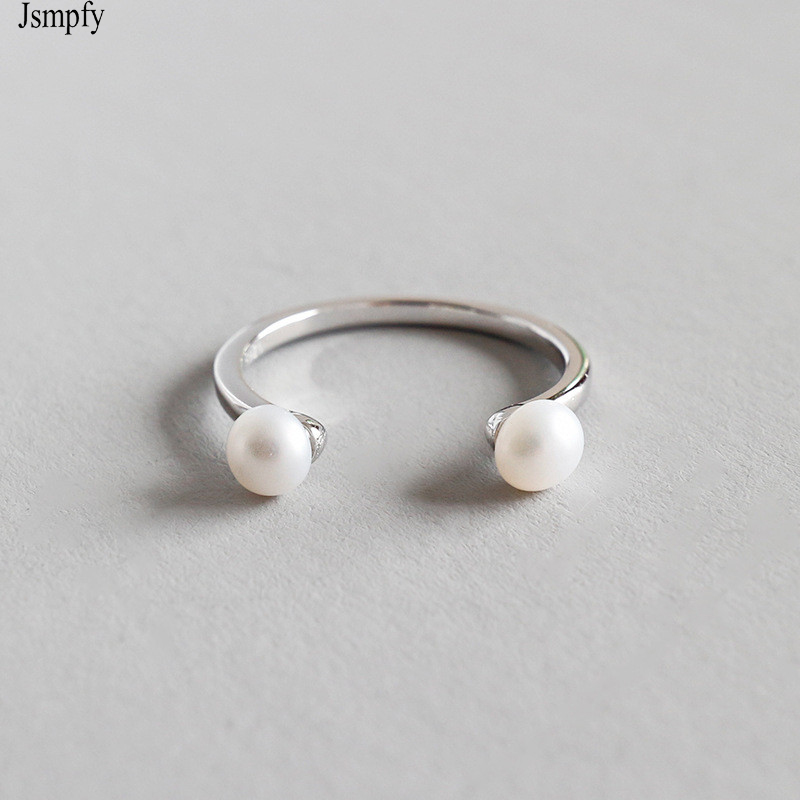 100% 925 Sterling Silver Open Size Rings Double Pearl Adjustable Ring For Women Birthd Gifts Bague