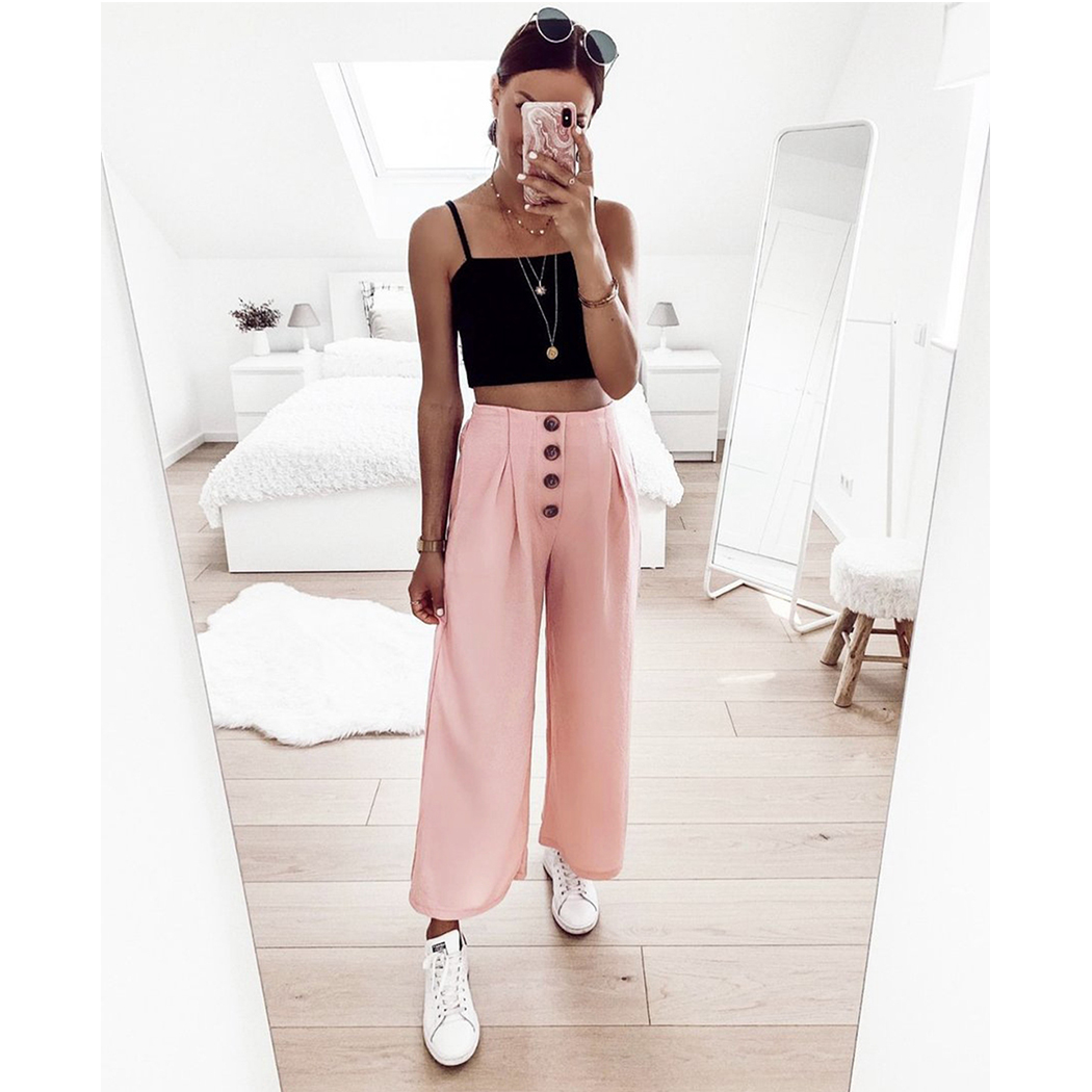 2019 High Waist Casual Ladies   Pants   Spring Wrinkled   Wide     Leg     Pants   Summer Loose Trousers For Women Pink Yellow Pantalones