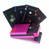 Красивые игральные карты! Металлическая коробка качество Пластик ПВХ покер Водонепроницаемый черный Карточные игры креативный подарок пр...