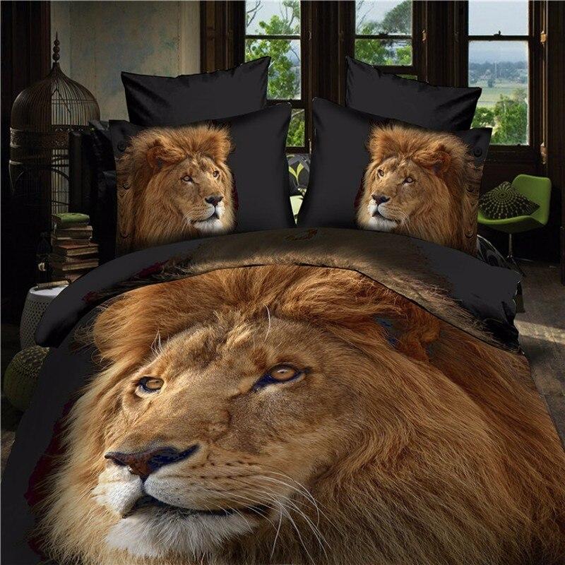 Lion housse de couette drap plat taies d'oreiller Double reine taille Animal literie ensemble drap de lit frais housse de couette housse de couette 4 pièces