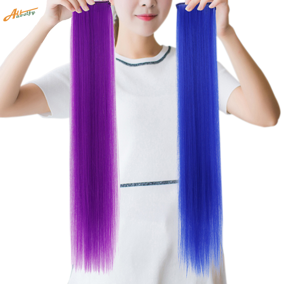 Allaosify 1 Piece 2 Clip-in One Piece Hair Extensions Pure Color Long Straight Synthetic Heat Resistant Hair