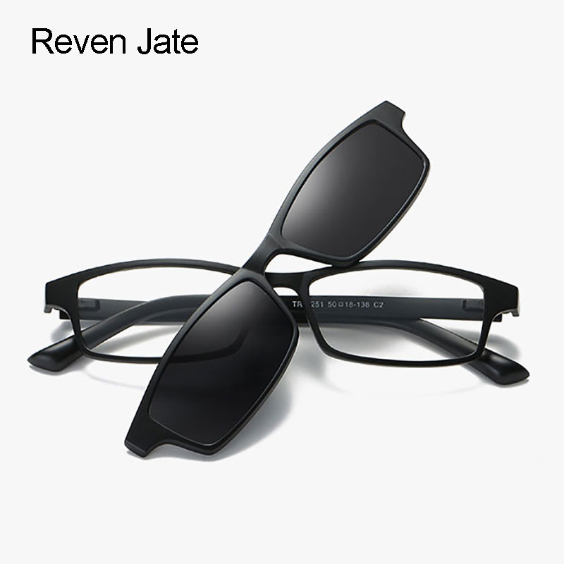 Reven Jate Polarized Sunglasses Magnetic Clip-ons with Plastic TR-90 Super Light Frame for Women and Men Sunshades Polarize