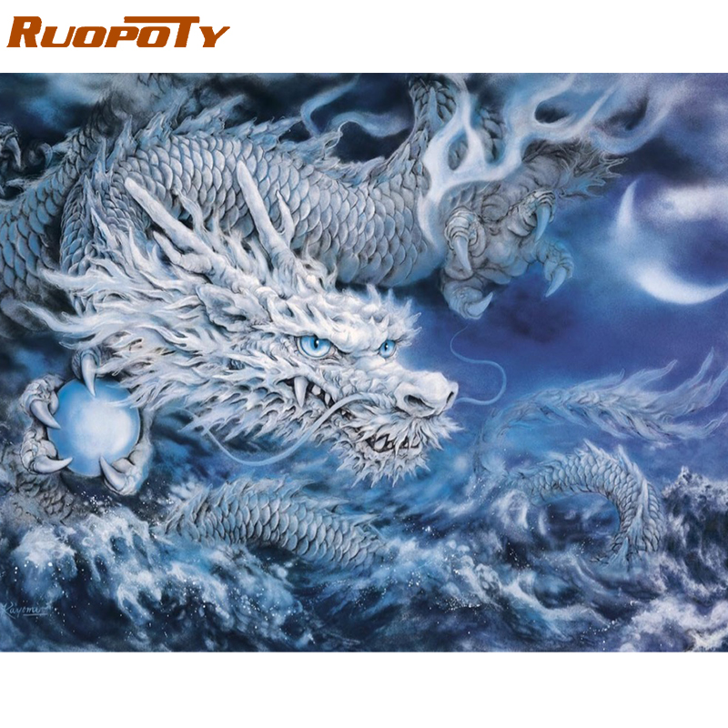RUOPOTY Frame Dragon Animals DIY Painting By Numbers Acrylic Canvas Painting Home Decoration Unique Gift Modern Wall Art Picture