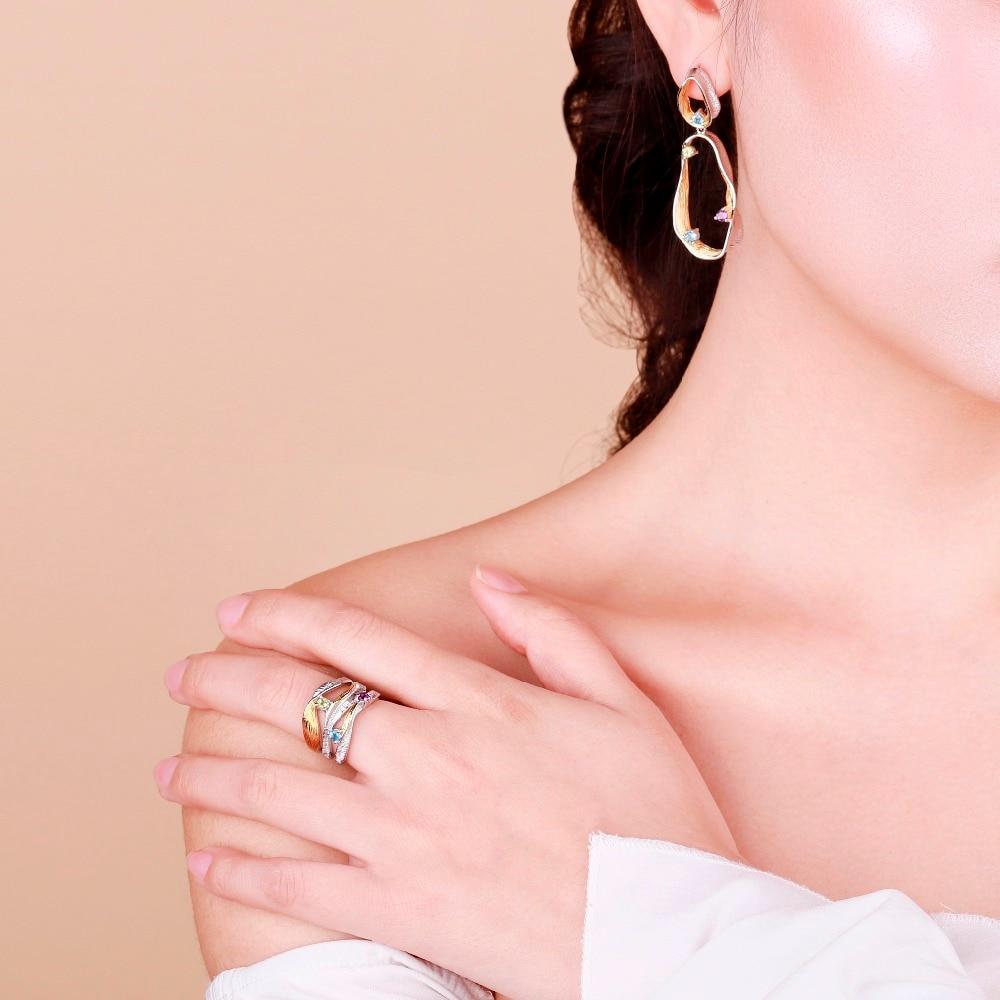 GEM'S BALLET Natural Topaz Amethyst Peridot Handmade Twist Jewelry Set 925 Sterling Silver Ring Earrings Pendant Sets For Women