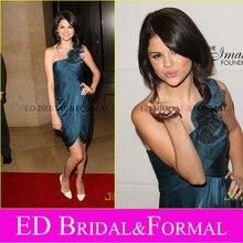 Selena Gomez Kurze Abendkleid an IMAGEN EBEN Awards Roter Teppich Schulter Satin Chiffon Berühmtheits-cocktailparty-kleid