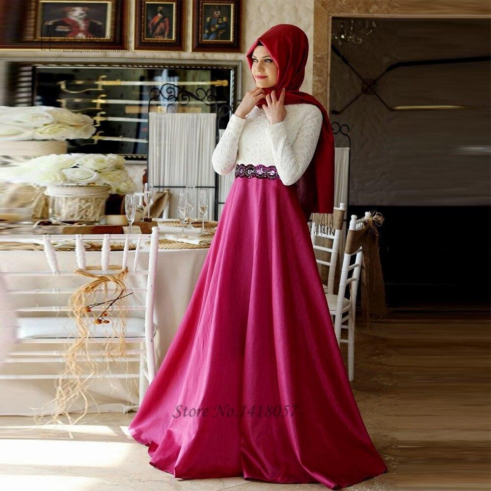 2016 Muslim Evening Dress White Lace Long Sleeve Prom Evening Dresses font b Hijab b font