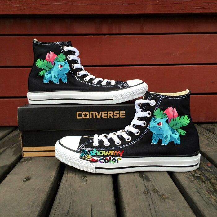 Pokemon Converse Shoes Men Women Hand Painted Canvas Sneakers Anime Ivysaur Design Black Skateboarding Shoes Brand All Star