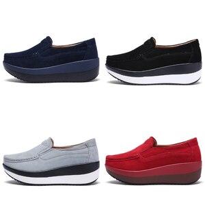 Image 4 - STQ 2020 סתיו נשים שטוח פלטפורמת נעלי גבירותיי זמש עור שטוח נעלי נשים להחליק על נעליים יומיומיות מוקסינים מטפסי 828