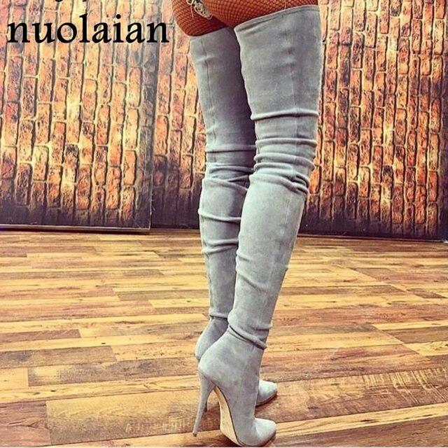 10.5 センチかかとの女性の靴ドレス膝の冬のブーツ女性フェイクスエード革ブーツ女性腿の高ブーツ女性雪靴