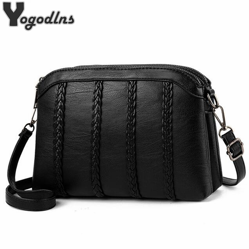Casual Lady Crossbody Bags Women Soft PU Leather Shoulder Bags For Female Mother Small Black Striped Weave Pattern Messenger Bag
