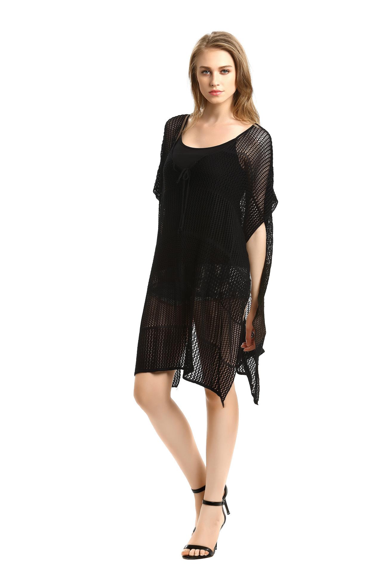 17 New Knitted Crochet Beach Tunic Bandage Bikini Cover-Ups Sexy Swimwear Cover up Women Beach Dress 8