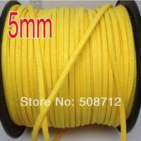 spedizione gratuita ! ! ! 100 yard / roll 5 mm colore giallo gioielli camoscio cord / morbido velluto corea glassa cord
