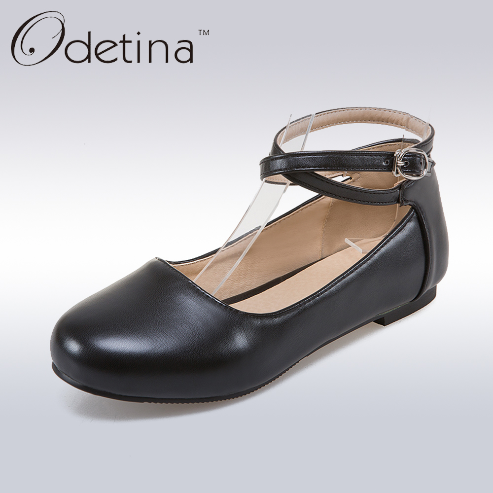 Odetina 2017 New Fashion Ladies Summer Shoes Ballet Flats Women Buckle Ankle Strap Mary Jane Flats Ballerina Flat Shoes Big Size цена и фото