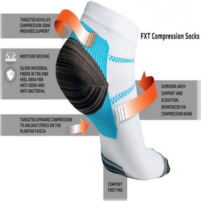1Pair 2017 New Foot Compression Socks For Plantar Fasciitis Heel Spurs Arch Pain Sport Socks
