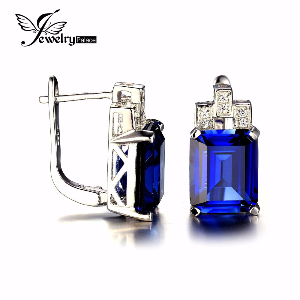 JewelryPalace 11ct Luxury Ocean Blue Sapphire Clip Earrings 925 Sterling Silver Earrings Fine Jewelry Fashion Jewelry for Women