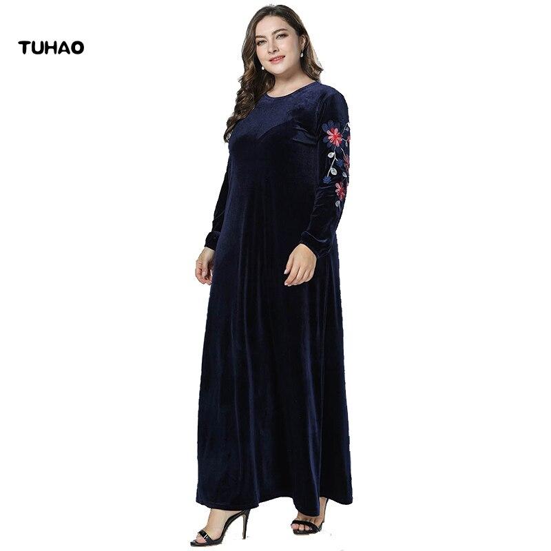 TUHAO 2018 automne hiver grande taille 4XL 3XL élégant Maxi longues Robes pour femmes à manches longues Robes en velours Robes brodées ZZL