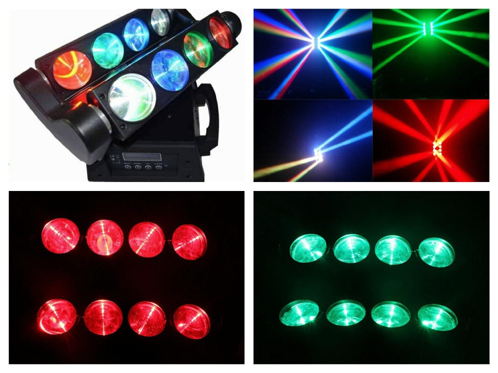 1pcs/lot, Beam LED spider light RGBW or White 8x10W Moving head Quad Spider Lights Disco club china party dj stage bar wedding  2pcs lot mini led infinite rotated beam moving head led spider light 9x10w rgbw led endless rotate beam effect dj disco lights