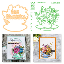 Eastshape Flower Clear Stamps and Dies Scrapbooking Letter Crafts Cup Word Tea Thanks Die Cut for Card Making Metal Cutting
