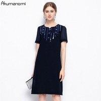 Plus Size Dress Summer Women 2019 Elegant Navy Blue V neck Short Sleeve Above Knee A line Loose Party Dress Vestidos Robe Femme