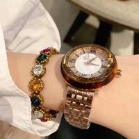Fashion Sexy Leopard Plastic Frame Perfect Round Watches for Women Steel Bracelet Watch Quartz Crystals Wrist watc Roman Montre
