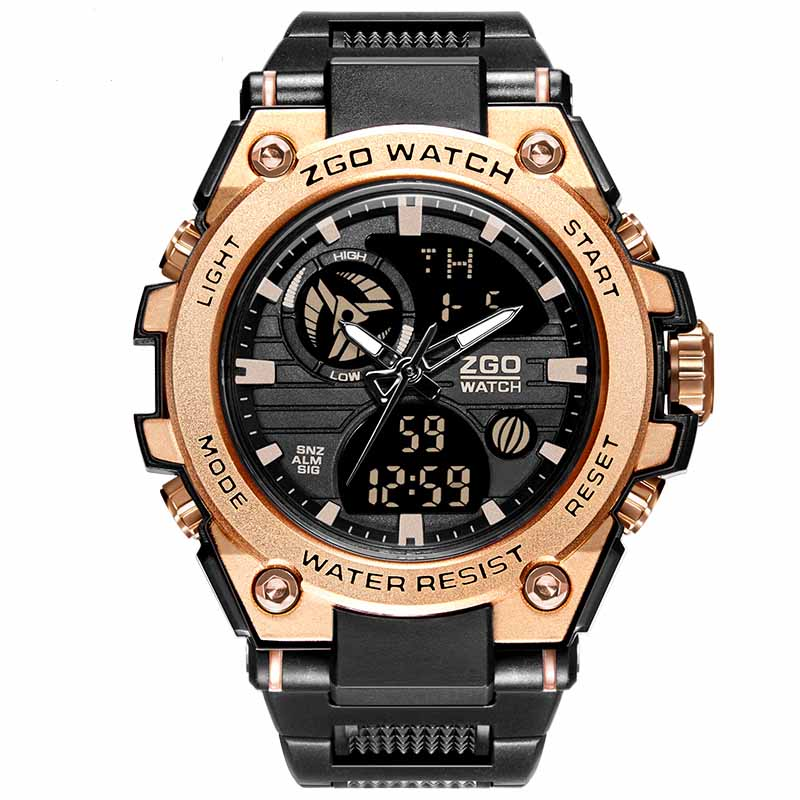 Gold Watch Men's Electronic Stopwatch 3Bar Waterproof Golden Military Digital Wristwatch Male Army Clock ZGSJ001