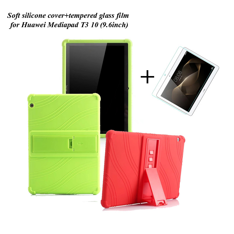 1Xtempered Glass Film+ Soft Silicone Stand PU Case Cover For Huawei Mediapad T3 10 Rubber Skin 9.6'' Tablet